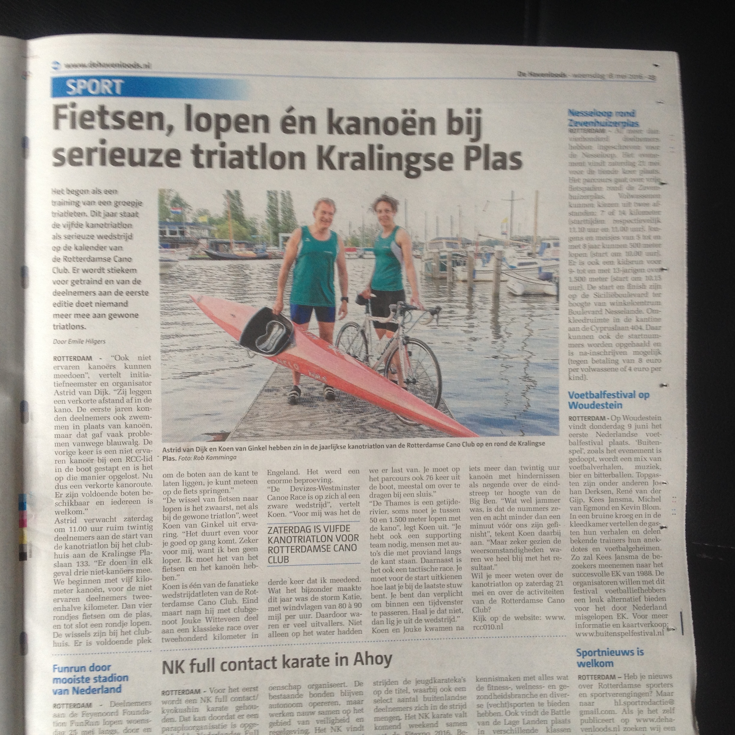 RCC triathlon in de krant